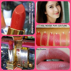 YSL Yves Saint Laurent Rouge Pur Couture Lipstick #4 Rouge Vermillon สีชมพูแดง อมน้ำตาล  ลิปสติกรุ่นใหม่แรงบันดาลใจจากไอค่อนแบรนด์ชื่อก้องโลก Monsieur Saint Laurent  สีสวยงามดั่งพาเล็ทหรูหรา ดึงสีอันสดจัดชัดเจนจากคอลเล็คชั่นห้องเสื้อชั้นสูงุแฝงไว้ ซึ่งกลิ