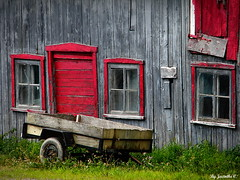 Touch of old and red... (jacinthect27) Tags: door windows light red summer green barn grey nikon day cart iledorleans