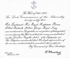 Prince Albert Mention in Dispatches for Jutland (The British Monarchy) Tags: england germany anniversary royal queen 100th worldwarone ww1 greatwar princealbert firstworldwar royalty jutland kinggeorgevi