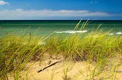 Beach Grass (mswan777) Tags: summer sky sun lake seascape color beach nature water grass clouds landscape sand nikon waves michigan dunes scenic polarizer d5100