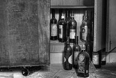 Bottles (Sareni) Tags: old light blackandwhite bw glass june shadows bottles serbia hdr highdynamicrange vojvodina twop srbija 2014 banat staro flase boottle alibunar juznibanat sareni