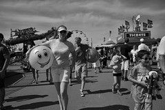Woman With Happy Ball L1101030 (1) (erlin1) Tags: summer people blackandwhite bw usa outdoors stpaul august fair visible mn v1 minnesotastatefair 2014 leicam9