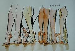 Legs (Olga Parfenova) Tags: pink woman brown white man black yellow ink watercolor painting paper naked sketch floor body quick