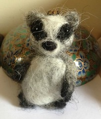 ooak needle felted badger blythe and doll house sized