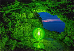 Cyprus Grotto Green (Rodrick Dale) Tags: park lake ontario canada green bay exposure time cyprus national grotto georgian cave tobermory
