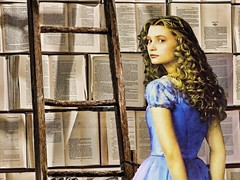"""Go Ask Alice"" (clarkcg photography) Tags: alice wonderland illusion mia wasikowska tim burton ladder books pages library illumination knowledge reading creative artistic"