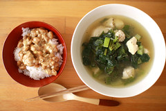monday lunch (aixxx) Tags: japan canon eos soup natto celery chickenbreast 40d shiokojichicken chickenandcelerysoup