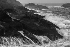 rocks, surf, crashing, Christmas Cove, Monhegan, Maine, Nikon D40, nikon nikkor 105mm f-4, 9.6.14 (steve aimone) Tags: ocean blackandwhite monochrome nikon rocks surf maine monochromatic nikkor tones atlanticocean f4 monhegan crashing grays 105mm monheganisland primelens tonality nikond40