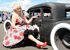 Jackie_7394 (Fast an' Bulbous) Tags: blonde girl woman hot sexy car truck vehicle automobile hotrod santa pod dragstalgia dress petticoat high heels stilettos hotty chick babe model mature milf pinup nikon d7100 gimp custom