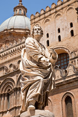 Palermo Cathedral, Sicily, Italy (chrisdingsdale) Tags: statue sicily italy italian stone palermo sandstone palace mediterranean cathedral outdoor summer day apostle sightseeing attraction landmark site dome temple church religion sculpture medieval architecture town city urban art