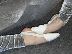 white toe caps with silver suit (flextoe) Tags: gymnastic caps toe gym slippers gymnastik kappen schlppchen rsg spandex unitard lycra