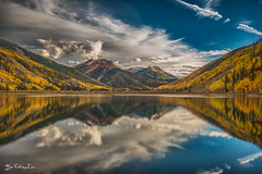 Crystal Lake Fall colors - Ouray, Colorado (FollowingNature) Tags: redmountain ngc crystallake ouray colorado coloradofallcolors milliondollarhighway sanjuanskyway coloradohighway550 sanjuanmountains followingnature reflections clouds lake