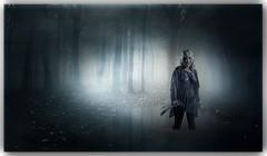 Stalker (Glen Parry Photography) Tags: horror horrorphotography gore darkimages darkart macabre nikon d7000 glenparryphotography photography studiophotography trees knife mask mist
