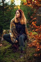 Viktorija (WolfgangDengler) Tags: portrait outdoor herbst autumn wald bokeh golden redhair red hair schal scarf woman frau girl availablelight tageslicht voigtlaender nokton 58mm slii nikon d800 forrest natürlich licht herbstlaub moos grün
