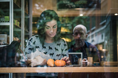 Foxy Lady (jonron239) Tags: cafe window selfie reflection woman girl pumpkin pullover design fox deli newyork greenwichvillage