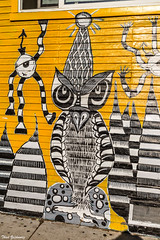 Owl detail from mural (Thad Zajdowicz) Tags: mural detail owl vivid vibrant white black yellow color colour street wall house zajdowicz venice california canon eos 5d3 5dmarkiii dslr digital availablelight lightroom outside outdoor urban city art painting
