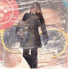 # 342 (07-12-2016) (h e r m a n) Tags: herman illustratie tekening bock oosterhout zwembad 10x10cm 3651tekenevent tegeltje drawing illustration karton carton cardboard vrouw woman