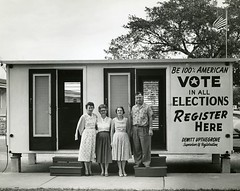 Voter registration trailer in Palm Beach (State Library and Archives of Florida) Tags: florida palmbeach voterregistration voting trailers elections dewittupthegrove