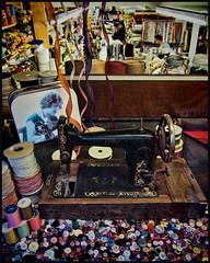 King's Textiles ~ Spadina Avenue, Toronto (Sally E J Hunter) Tags: toronto kingstextiles store window singer sewing textile fashiondistrict queenstreet garmentdistrict spadina sewingmachine