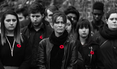 #FlickFriday -- Make Love, Not War -- Lest We Forget (bboneyardd) Tags: remembrance poppy selective colour uwindsor university windsor women crowd sad monochrome black white outdoor light photography
