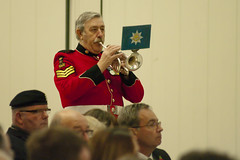 Trumpeter from the Band of the Royal Anglian Regiment (Rustic Tinselpudding) Tags: remembrance ceremony duxford iwm harvar harvard dragon rapide dragonrapide flight aircraft poppy drop service memorial remember ww1 ww2 anglian regiment band last post air raf royal force british legion saweston cadets