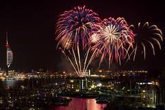 Gunwharf Fireworks (skipnclick) Tags: gunwarf quays harbour gosport marina fireworks colour night sky spinnaker tower land rover bar sailing yachts boate portsmouth pyrotechnics explore starburst 50mm nikon d610