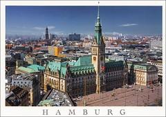 Hansestadt Hamburg (Alea's Postkartenecke) Tags: germany deutschland postcard sammlung post ansichtskarte postkarte hamburg hansestadt rathaus architektur urlaubsgrse luftaufnahme postkartensammlung city
