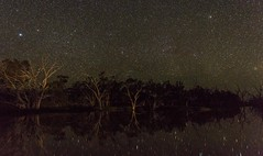 nightscape at Buckinbah Weir, St George, Queensland, Australia (andrew.walker28) Tags: night sky stars starlight starscape landscape water reflections st egorge queensland australia long exposure buckinbah airglow green