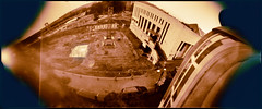 The Arch, October (batuda) Tags: pinhole obscura stenope lochkamera analog analogue can coffee cylindrical film orthochromatic 9x24 largeformat d76 toned color colour city town cityscape construction building house lsmu architecture kaunas karaliausmindaugo lithuania lietuva epson 4490photo sky ground wide wideangle neodymium october