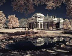Monticello (zachstern) Tags: monticello nickel thomasjefferson charlottesville virginia reflection fishpond sky trees ir infrared xnitecanong9 maxmaxcom