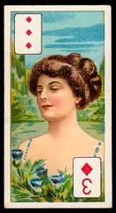 Cigarette Card - 3 of Diamonds (cigcardpix) Tags: cigarettecards advertising ephemera vintage beauty playingcard