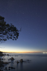 Silence Beach (Angel Alonso canon) Tags: beach water sea ocean blue night spain samyang 14 stars