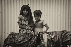 Sisters (karmajigme) Tags: girls children childhood sister young youth human travel rajasthan india blackandwhite noiretblanc monochrome nikon