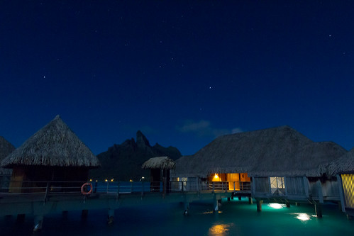 Nighttime outside the bungalow