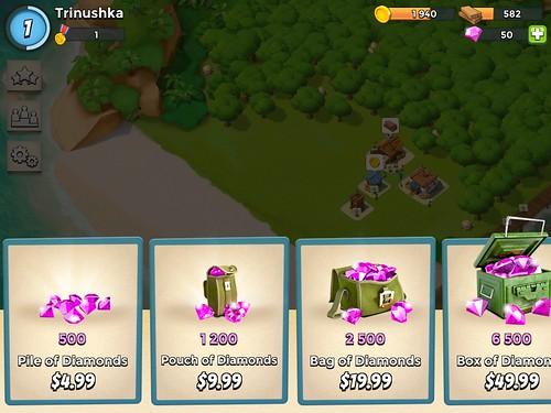 Boom Beach Virtual currency Bank: screenshots, UI