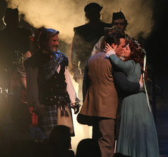 Brigad(L to R) Robert J. Townsend (Tommy Albright), Jennifer Hope Wills (Fiona MacLaren) and cast of Brigadoon, produced by Music Circus at the Wells Fargo Pavilion August 5-10, 2014. Photos by Charr Crail.