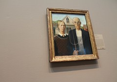 CHICAGO - AMERICAN GOTHIC (Punxsutawneyphil) Tags: wood woman usa chicago man art america painting us illinois couple arte unitedstates farmers kunst paar american northamerica mann farmer frau bild amerika realism americangothic grantwood chicagoartinstitute gemlde vereinigtestaaten nordamerika