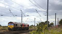 66134 & 66001 Shipton-by-Benningbrough 13/08/2014 (Flash_3939) Tags: uk red maroon pair shed august double convoy dbs livery 2014 eastcoastmainline class66 ews ecml lightengine 66001 66134 dbschenker shiptonbybenningbrough