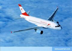 Austria - AIRBUS A319 - Austrian - 2014 - front (Ye-Di) Tags: austria airbus a319 austrian 2014 ansichtskarte postcard österreich austrianairlines jet turbofan aua aircfraft airplane 2010s