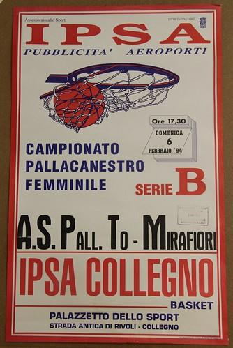 Manifesto Collegno Basket vs. Pall. TO Mirafiori - Serie B Femminile