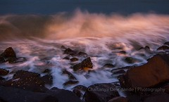 'Crash & Burn' (Chaitanya Deshpande | Photography) Tags: longexposure sunset sea seascape motion canon rocks pondicherry pondy bayofbengal incredibleindia longexposurephotography rocksonthebeach seamotion