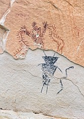 Pictographs / Temple Mountain Site (Ron Wolf) Tags: archaeology utah nativeamerican vandalism anthropology blm pictograph templemountain anthropomorph anthromorph barriercanyon