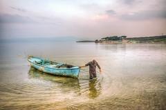 Work in lake (Nejdet Duzen) Tags: trip travel lake sunrise turkey boat fishing cloudy türkiye sandal göl turkei seyahat manisa gündoğumu balıkçılık gölmarmara buutlu
