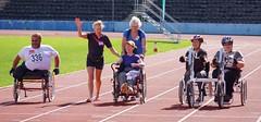 Heading for the Finish (McTumshie) Tags: england london unitedkingdom walk wheelchair crystalpalacepark capitalring crystalpalacetriathlon leonardcheshiredisability 31august2014 tritogetherlondon