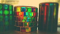 Stained Glass Tea Light Cups (sixty8panther) Tags: window glass colors contrast this junk colorful bright naturallight stainedglass storage cups saturation translucent colored ive got goodmorning hue sort clutter tealight bold niknak glasscups smallcollection