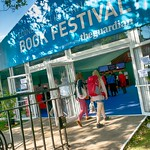 Sunny entrance to the Edinburgh International Book Festival