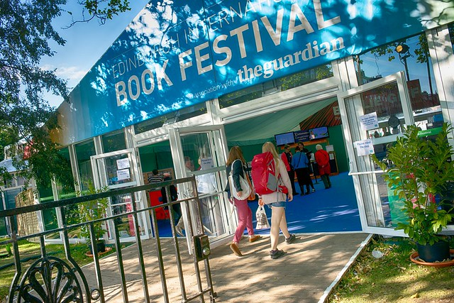 Sunny entrance to the Edinburgh International Book Festival