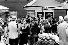 20161106-01-Tasmanian Farmgate randoms (Roger T Wong) Tags: 2016 australia bw farmgate hobart rogertwong sel70300g sony70300 sonya7ii sonyalpha7ii sonyfe70300mmf2556goss sonyilce7m2 tasmania tasmanianfarmgatemarket blackandwhite crowd market mono monochrome people stalls