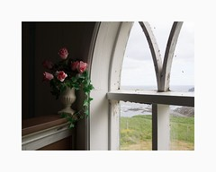 Hsavkurkirkja 2015 (Karl Gunnarsson) Tags: em5 panasonic20mmf17 hsavkurkirkja hsavk eystri sland iceland church kirkja fakeplasticflowers window landscape