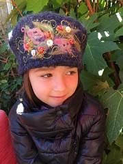 Sofia in her beret (Ambrosia Cottage) Tags: wool embroidery felting felt fulling beret amyberet lisacruse ambrosiacottage knitting beads ravelry